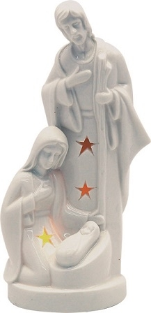 Natività in ceramica con luce a led cm. 14,5