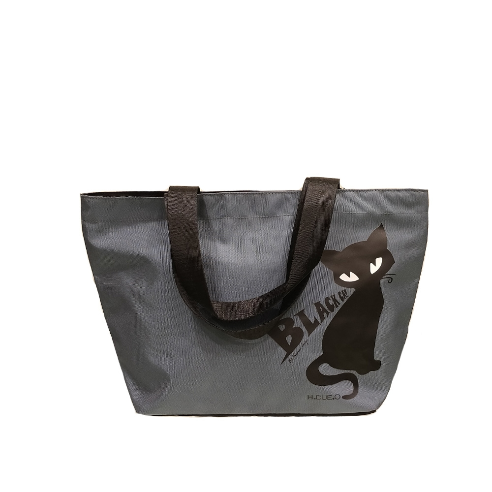 H.DUE.O - Black Cat - Borsa da donna piccola con stampa gatto nero cod. TB509