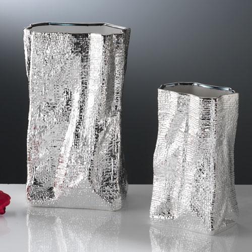 Vaso di ceramica bianca argentata altezza 23 cm