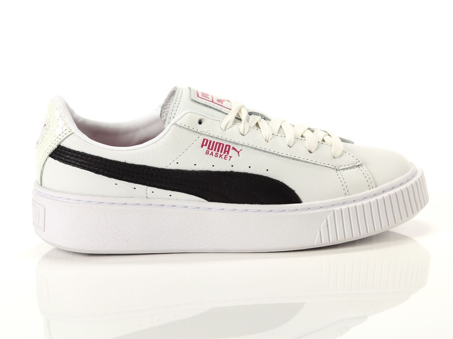 SNEAKERS PUMA BASKET PLATFORM EXOTIC 367509-01 WHITE-BLACK-ROSE VIOLET
