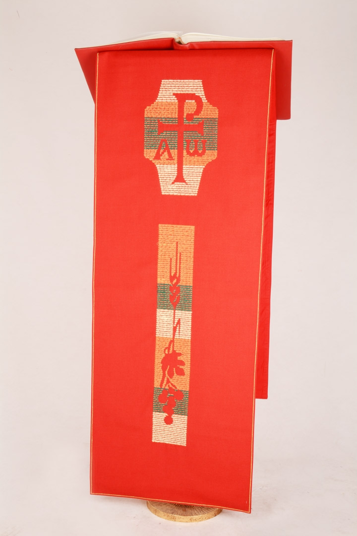 Copri Ambone 10A MB Uva e Spighe - Rosso - 50 x 260 cm
