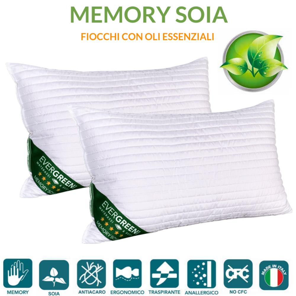 Materassi Memory Foam Soia.Cuscini Letto In Memory Foam E Oli Essenziali Di Soia 40x70 Alti 12 Cm