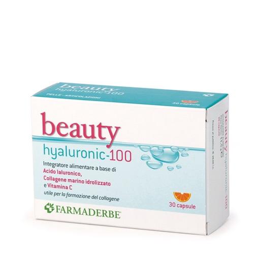 Beauty Hyaluronic 100 acido ialuronico 100 mg per capsula, collagene marino e vitamina C 30 cps
