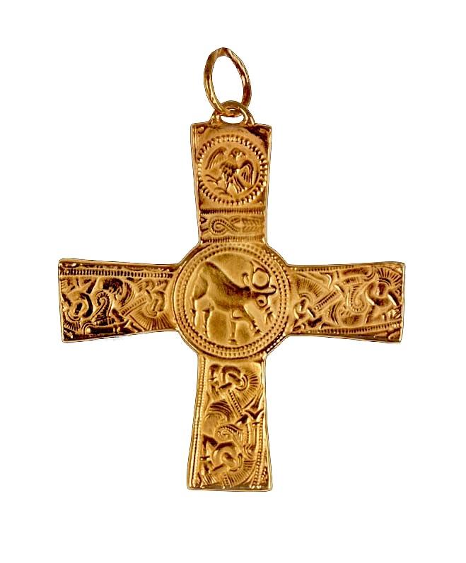 Croce Pettorale in Argento con Cervo 8 x 7 cm
