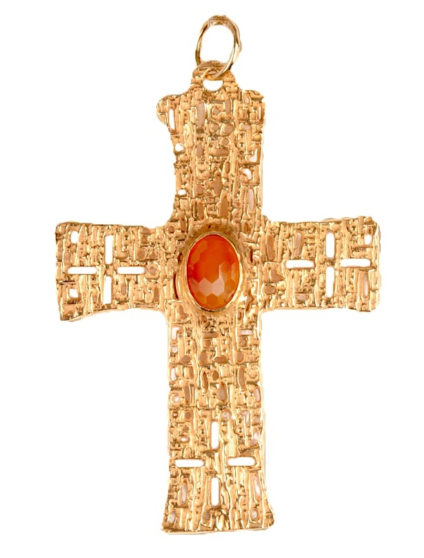 Croce Pettorale Traforata in Argento Dorato con Pietra 10,5 x 7 cm