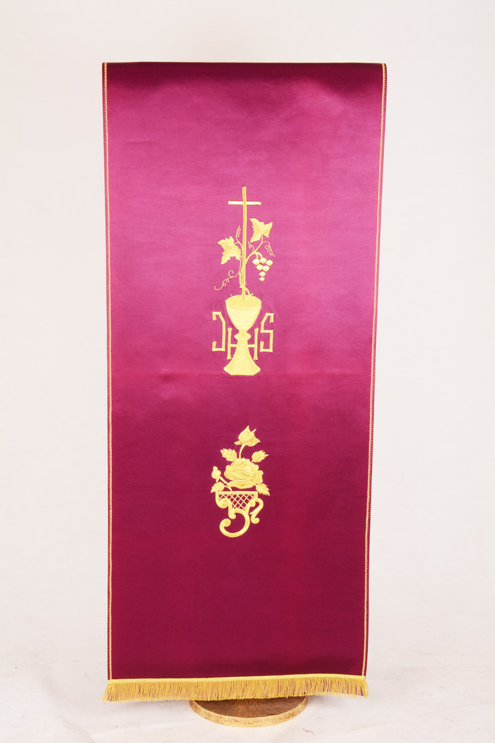 Copri Ambone 3 MA Calice e Rosa - Morello - 50 x 260 cm