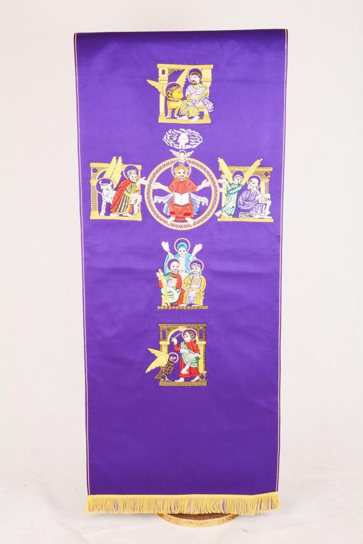 Copri Ambone 22 MA Croce Evangelisti - Viola - 50 x 260 cm