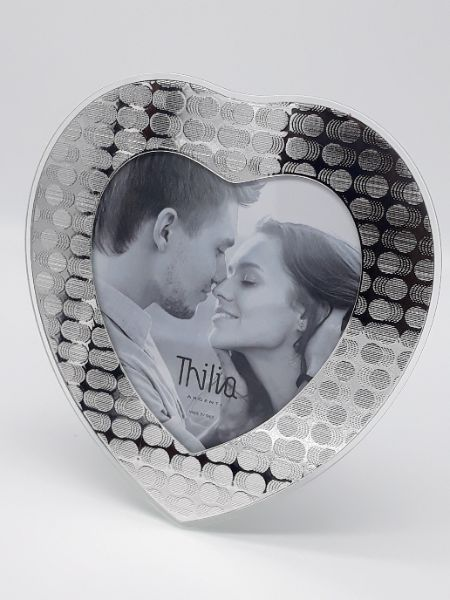 Cornice in argento e vetro portafoto portaritratto a forma di cuore, vendita on line   GIOIELLERIA BRUNI Imperia