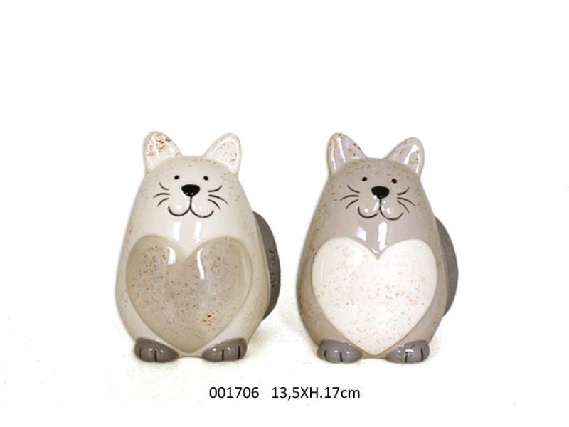 Gattone piccolo in ceramica con un cuore (001706)