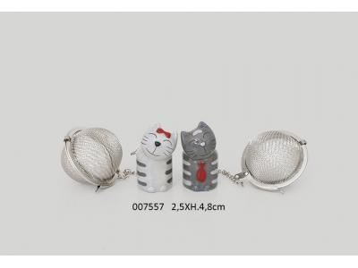 007557 BOULE A THE 'FELIN' 2.5 X 2.5 X H. 4.8 CM / 2 ASS