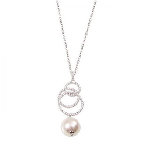 Collana in argento con pendente di zirconi e perla finale