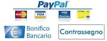 contrassegno, bonifico bancario, paypal, carta di credito
