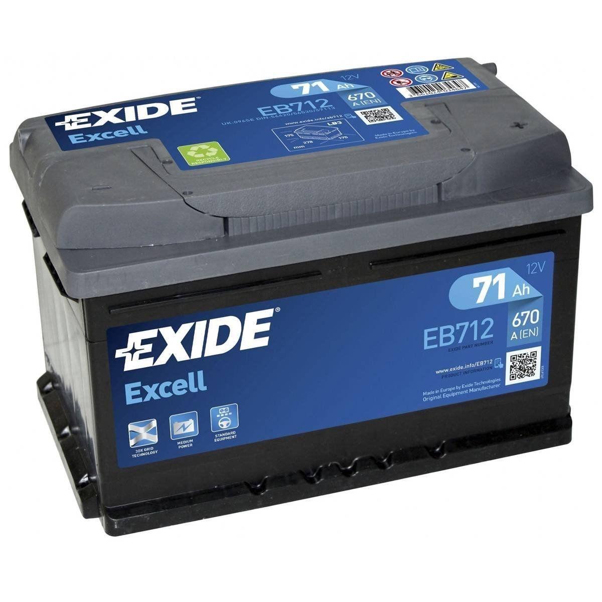 Batteria EXIDE 71Ah Dx - EB712