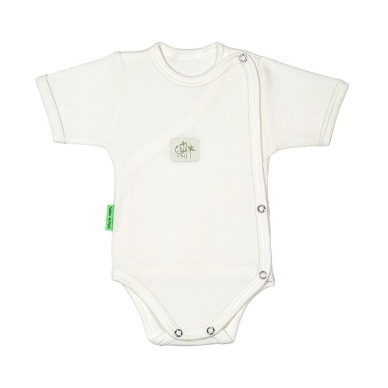 seleziona per ufficiale miglior fornitore prezzo ridotto Body neonato a manica corta - 100 % bamboo - con apertura a libro.