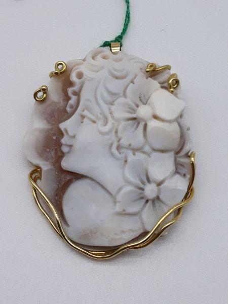 Spilla Ciondolo CAMMEO montato in oro 750, vendita on line | GIOIELLERIA BRUNI Imperia