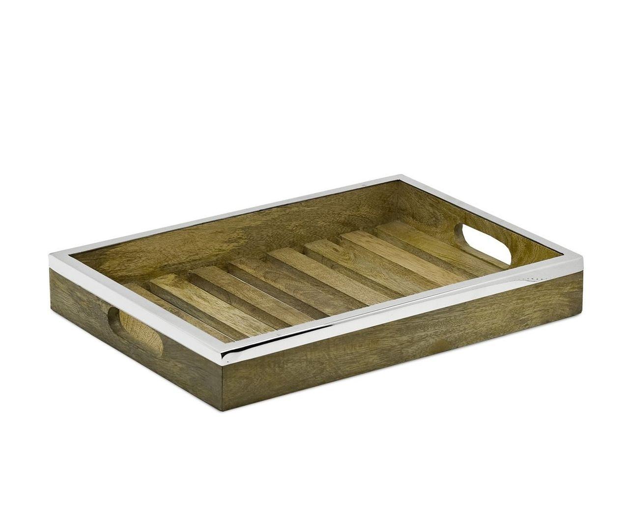 Vassoio rettangolare in legno e acciaio inox cm.45x32,5x6,5h
