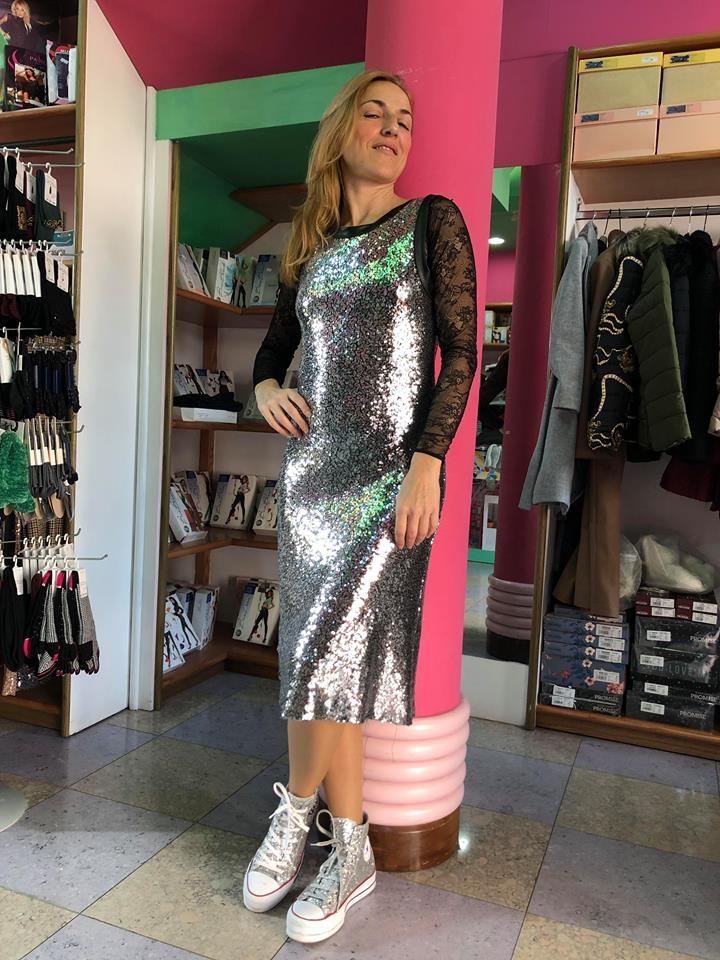 Long dress pailettes