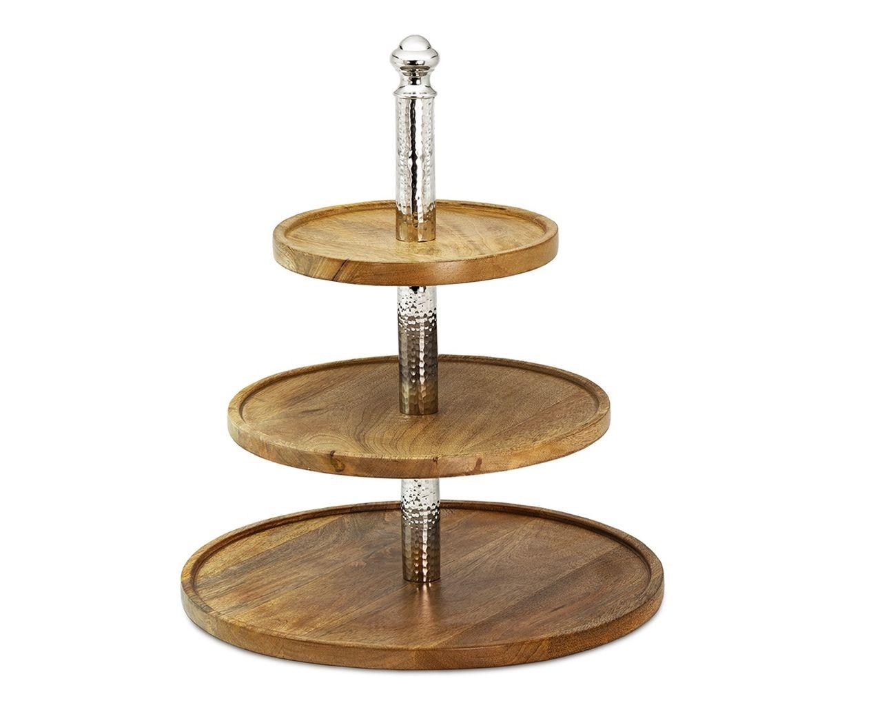 Alzata per dolci e frutta in legno 3 piani con colonna in ottone stile Martellata cm.41,5h diam.35