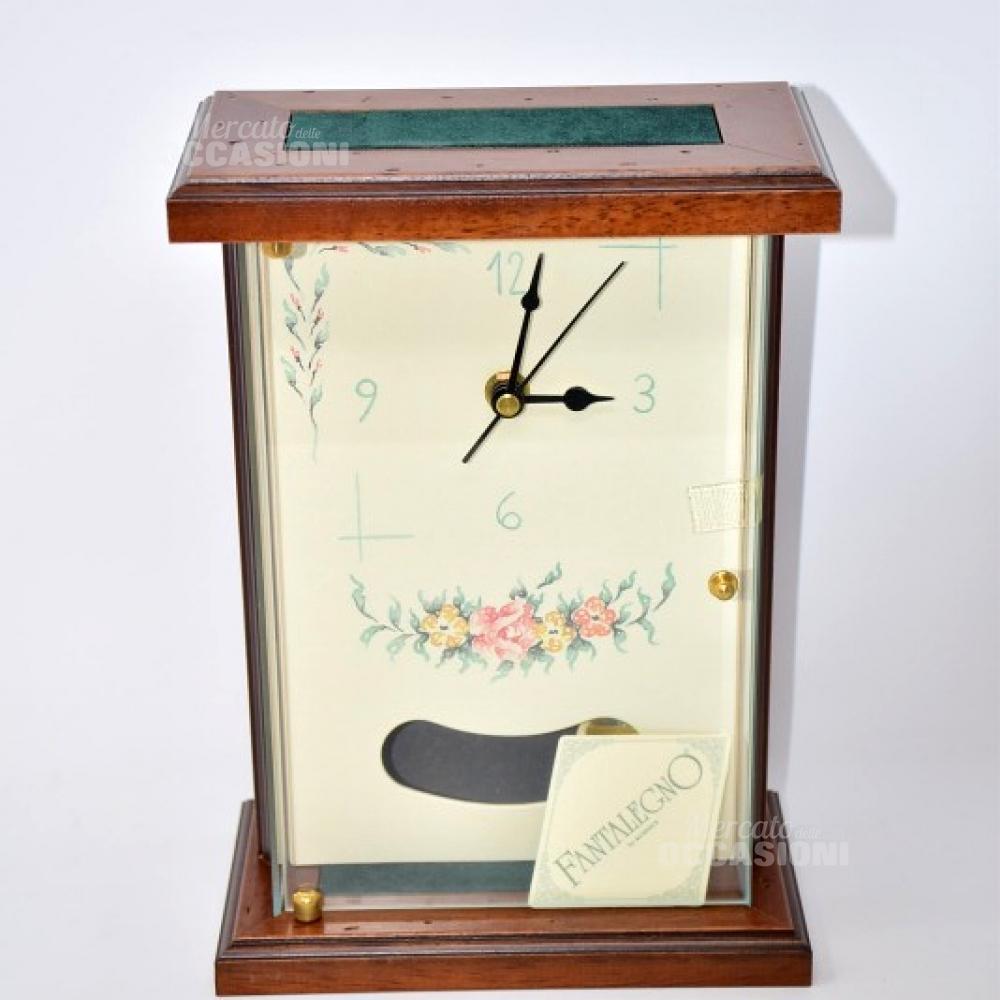 Orologio Pendolo Con Disegno  NUOVO In Legno