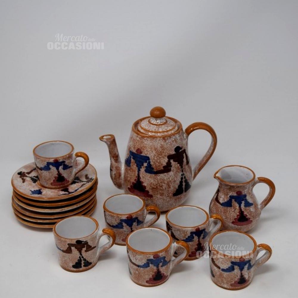 Set 6 Tazzine Con Teiera  Ceramica Sarda