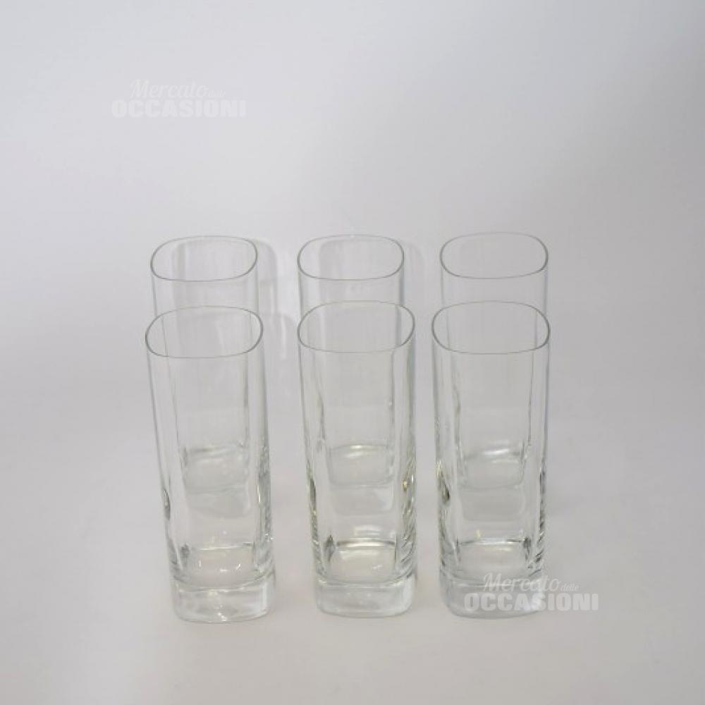 6 Bicchieri Vetro Lunghi