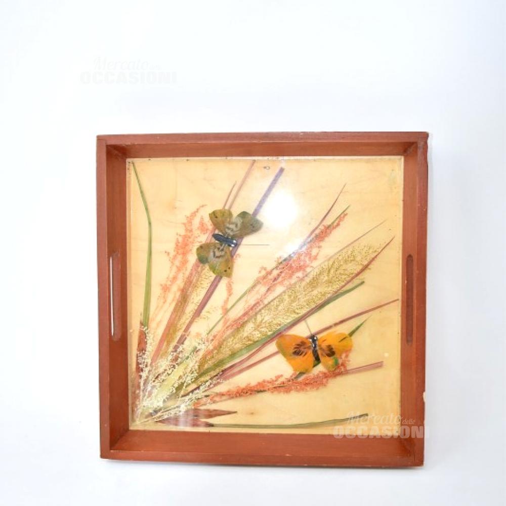 Vassoio Legno Con Farfalle