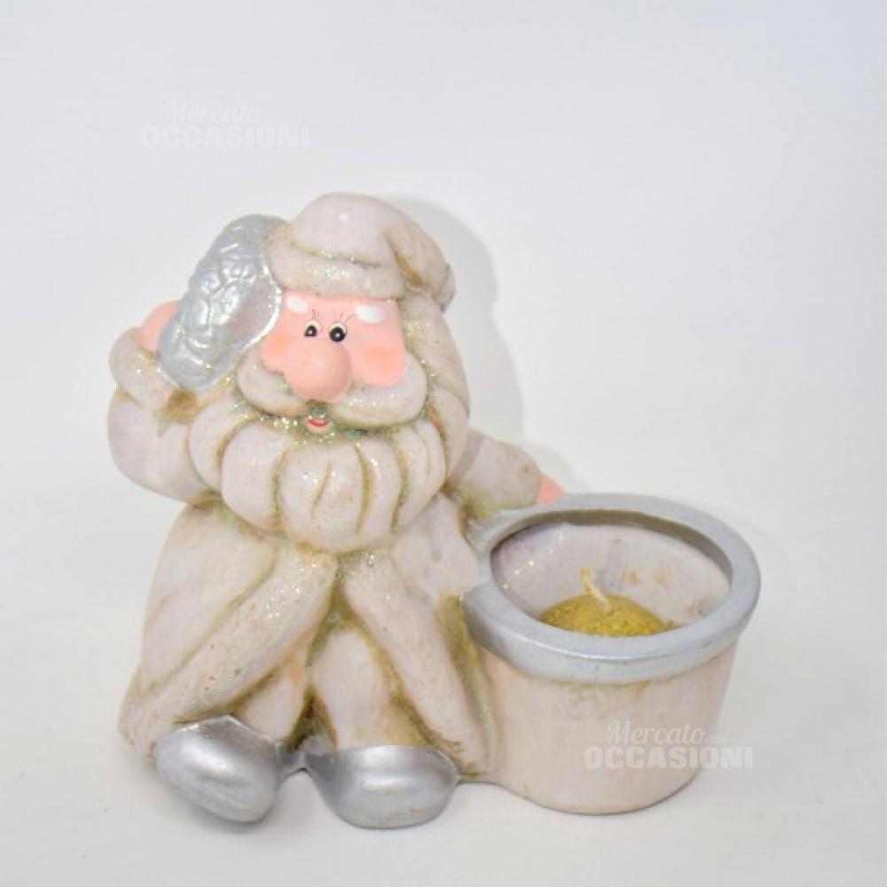 Babbo Natale Con Candela  Bianco Ceramica