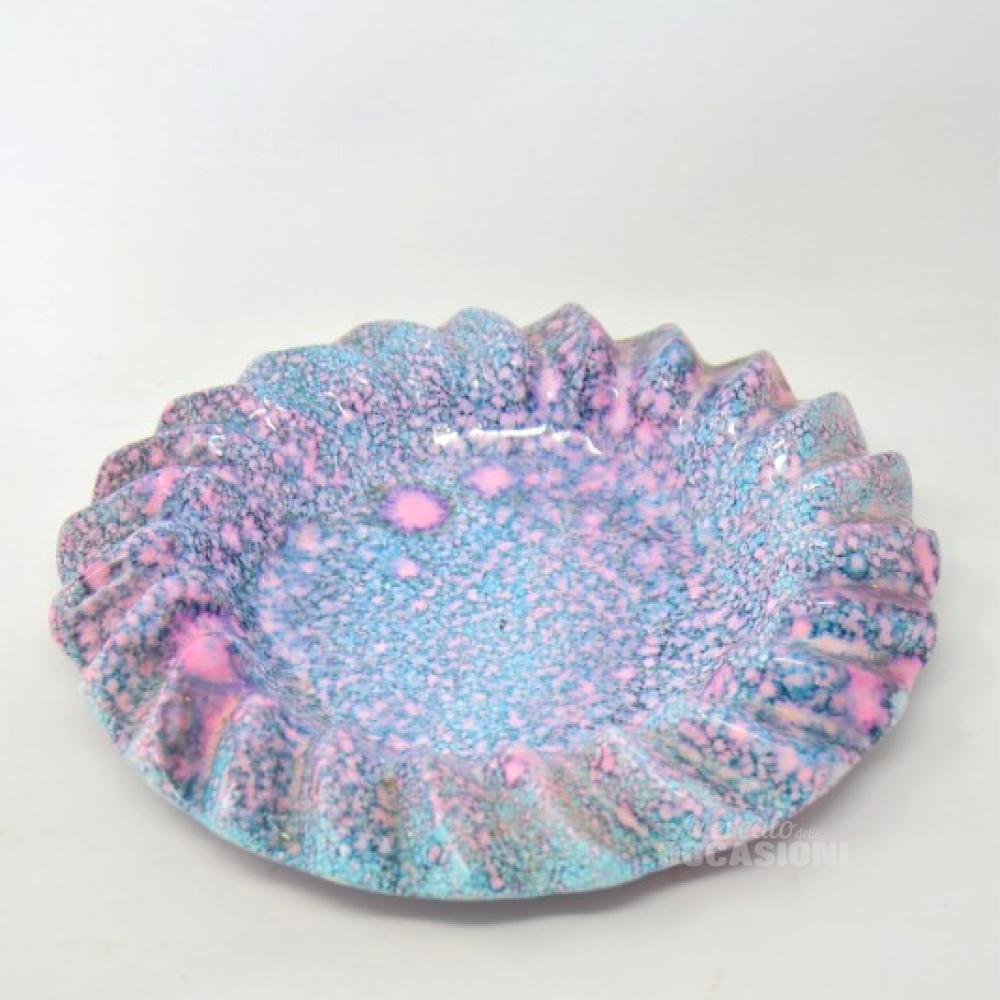 Piatto Ceramica Azzurro Rosa
