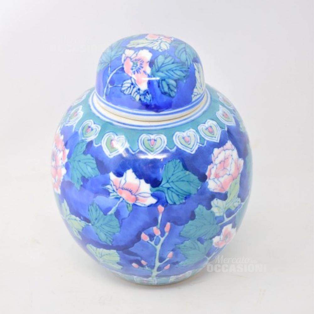 Vaso Blu Rotondo Con Tappo