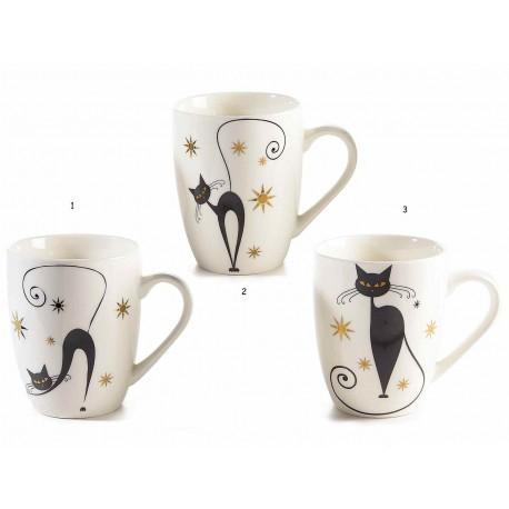Tazza con Gatto Nero che Guarda Indietro