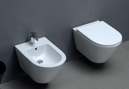 Vaso e bidet sospeso per il bagno cm 54 x 37 Forma Azzurra