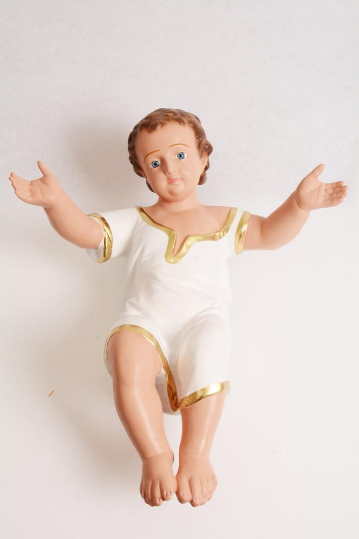 Gesù Bambino Arte Barsanti Gesso Dipinto a Mano 50 cm
