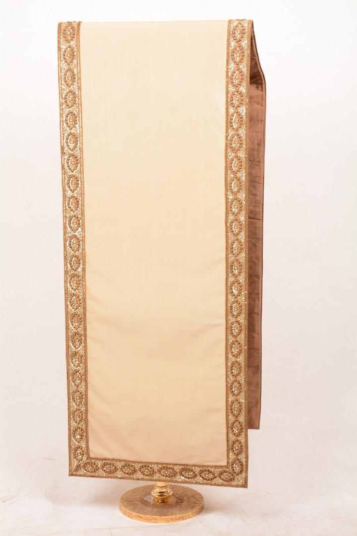 Copri Ambone Bordo Ricamato Ovali 703 MB - Bianco - 50 x 260 cm