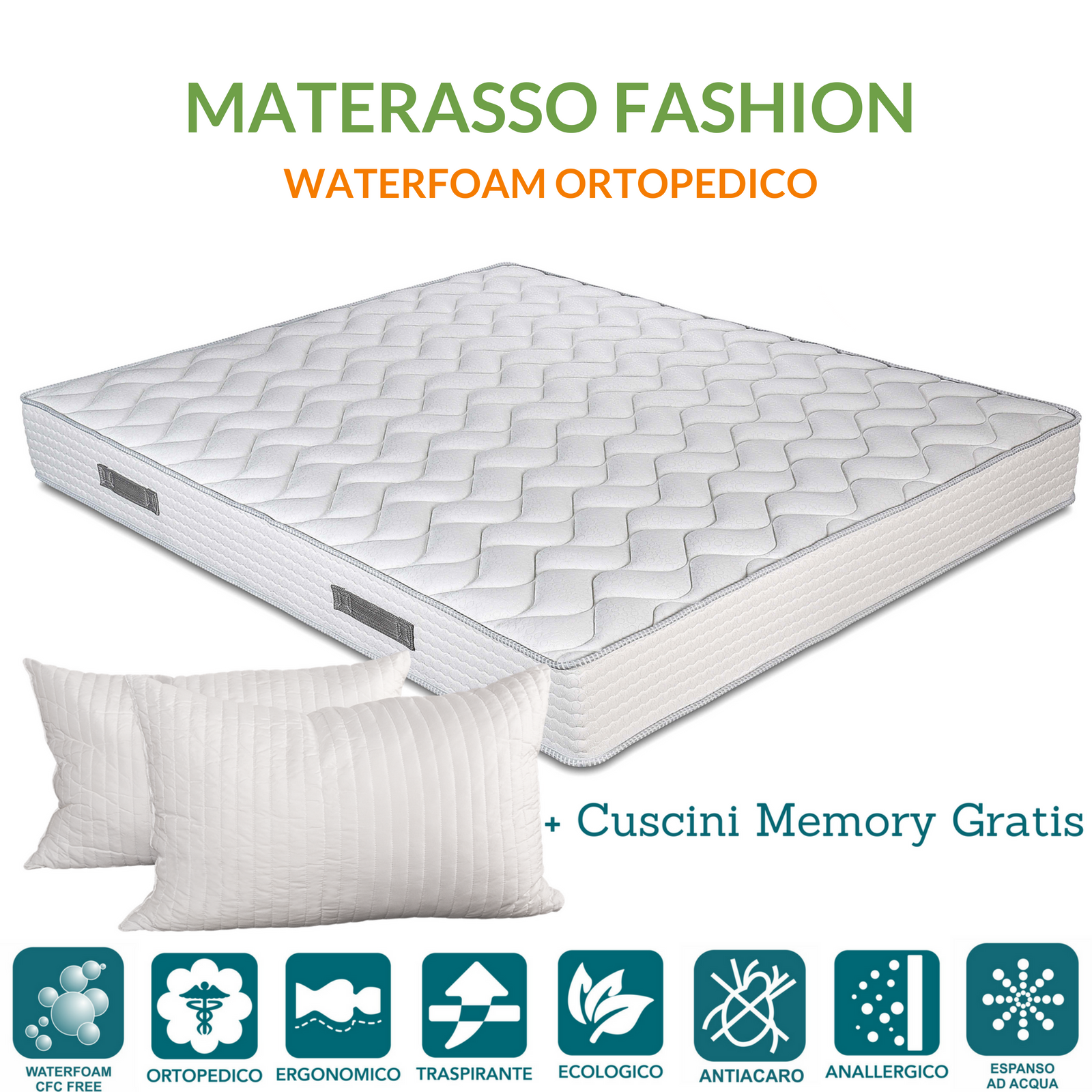 Materasso Ad Acqua Matrimoniale.Materasso Matrimoniale 160x190 Evergreenweb In Waterfoam Senza