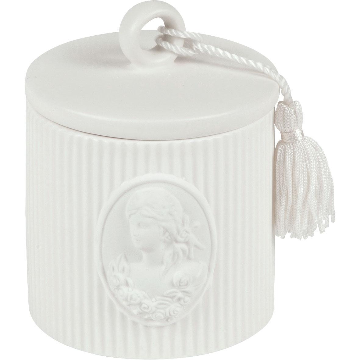 Set due barattoli porta cotone, in ceramica bianca, Linea Marquise di Mathilde M.