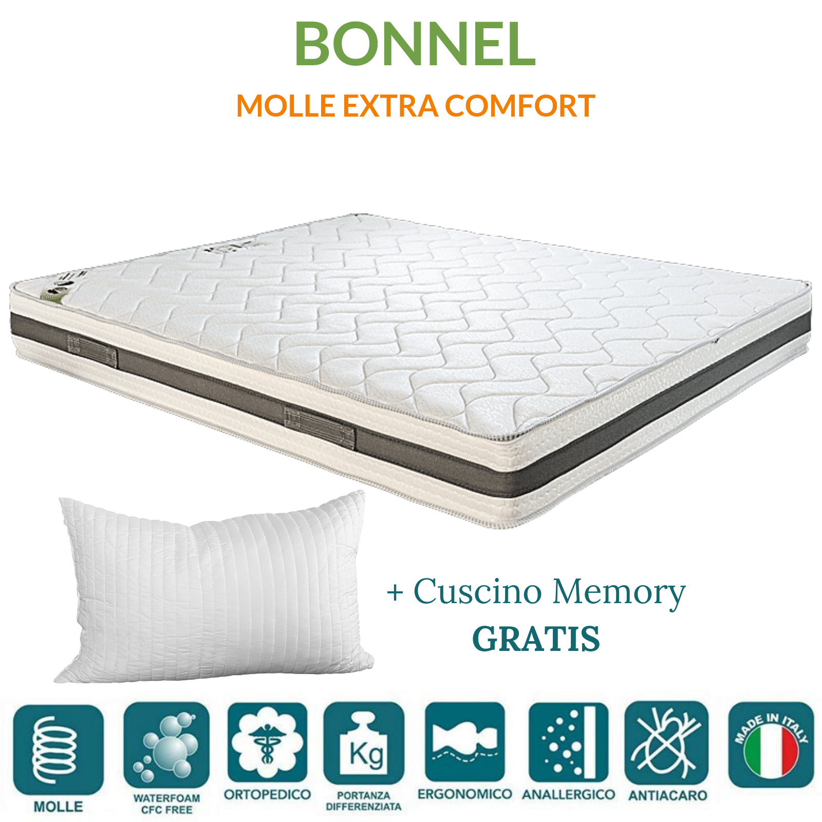 Differenza Tra Materassi A Molle E Memory.Materasso A Molle In Acciaio E Waterfoam Ortopedico Tessuto Anallergico H20 Con Cuscini In Memory Foam Gratis Bonnel