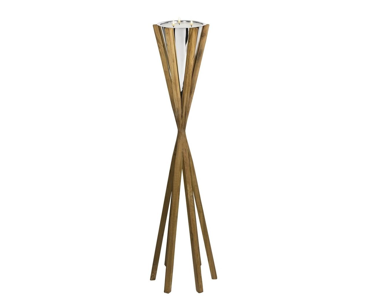 Torcia da giardino base in legno con candela cm.124h