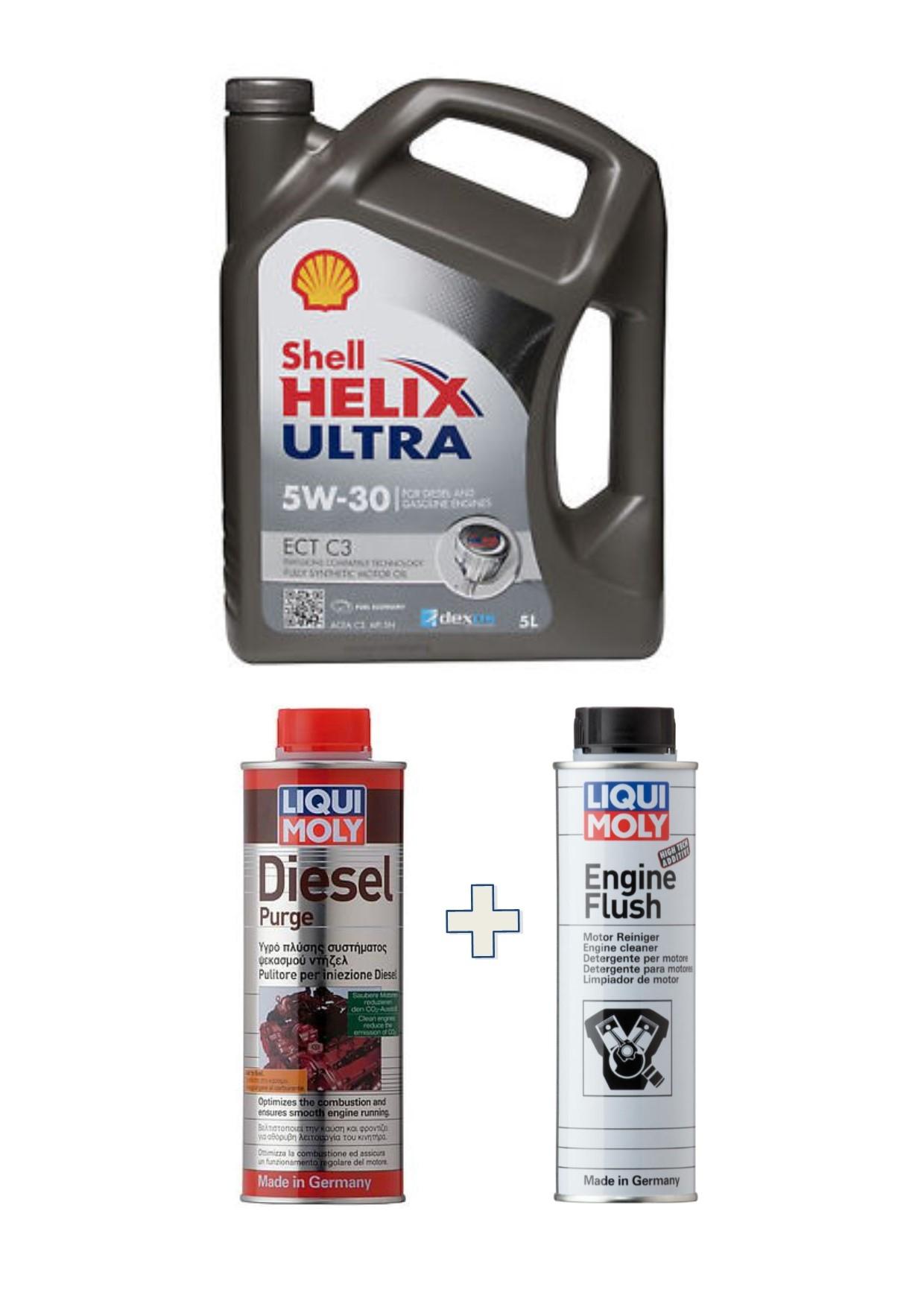 KIT Shell Helix Ultra ECT C3 5W30 bar 5 Litri + Liquimoly Diesel Purge +Engine Flush