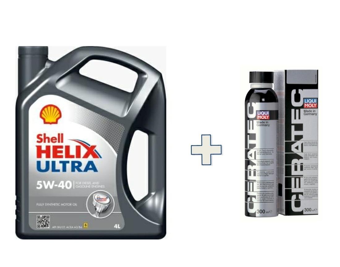 Kit Shell Helix Ultra 5W/40 barattolo 4 Litri + Liquimoly Ceratec 3721 1x300 ml
