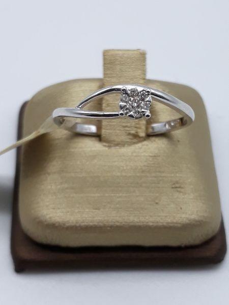 Anello Donna oro bianco tipo solitario con diamanti, vendita on line GIOIELLERIA BRUNI Imperia