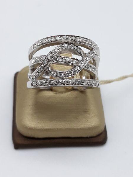 Anello Donna fascia fantasia in oro bianco e diamanti, vendita on line | GIOIELLERIA BRUNI Imperia