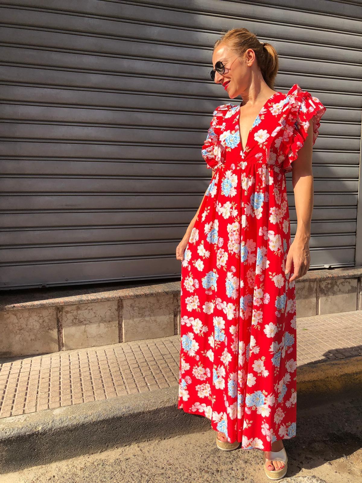 Long Dress red fiori