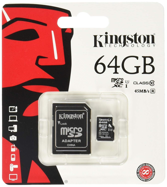 MICRO SD KINGSTON CANVAS SDCS 64GB C10 con Adattatore