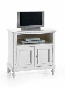 Porta tv 2 ante + vano a giorno finitura laccato bianco