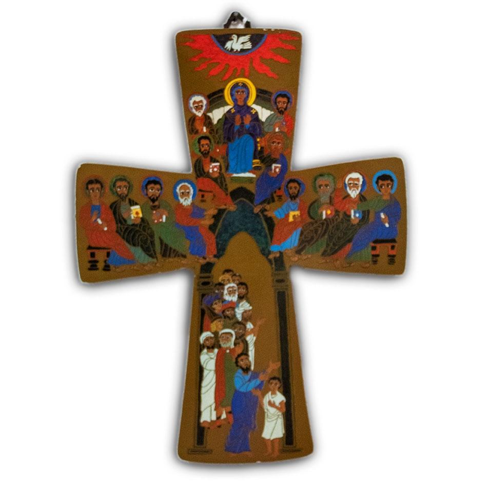 Croce Colorata Stampa su Legno 32 x 24 cm