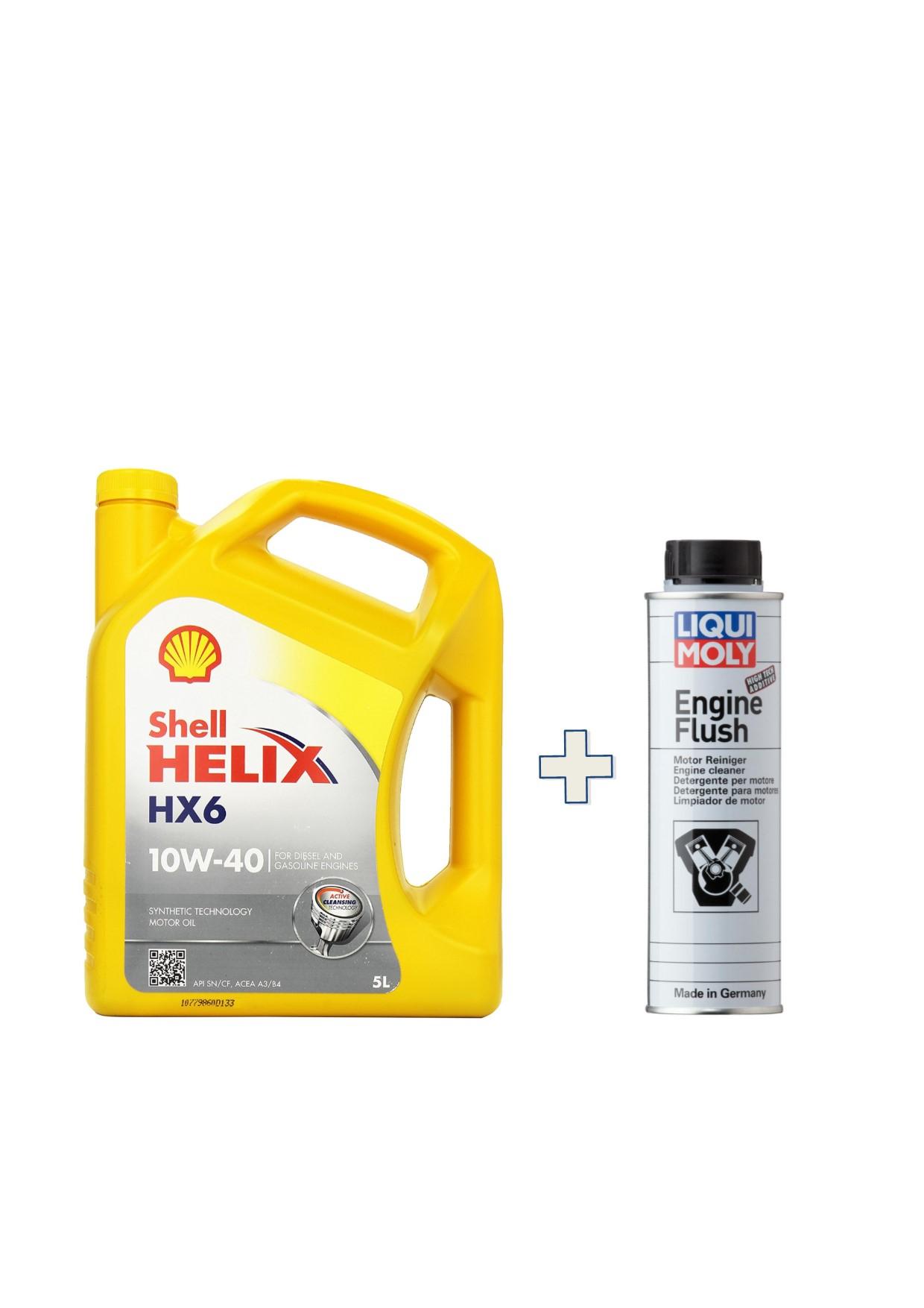 KIT-Shell-Helix-HX6-10W40-barattolo-5-LT + LIQUIMOLY-ENGINE-FLUSH-LAVA-MOTORE