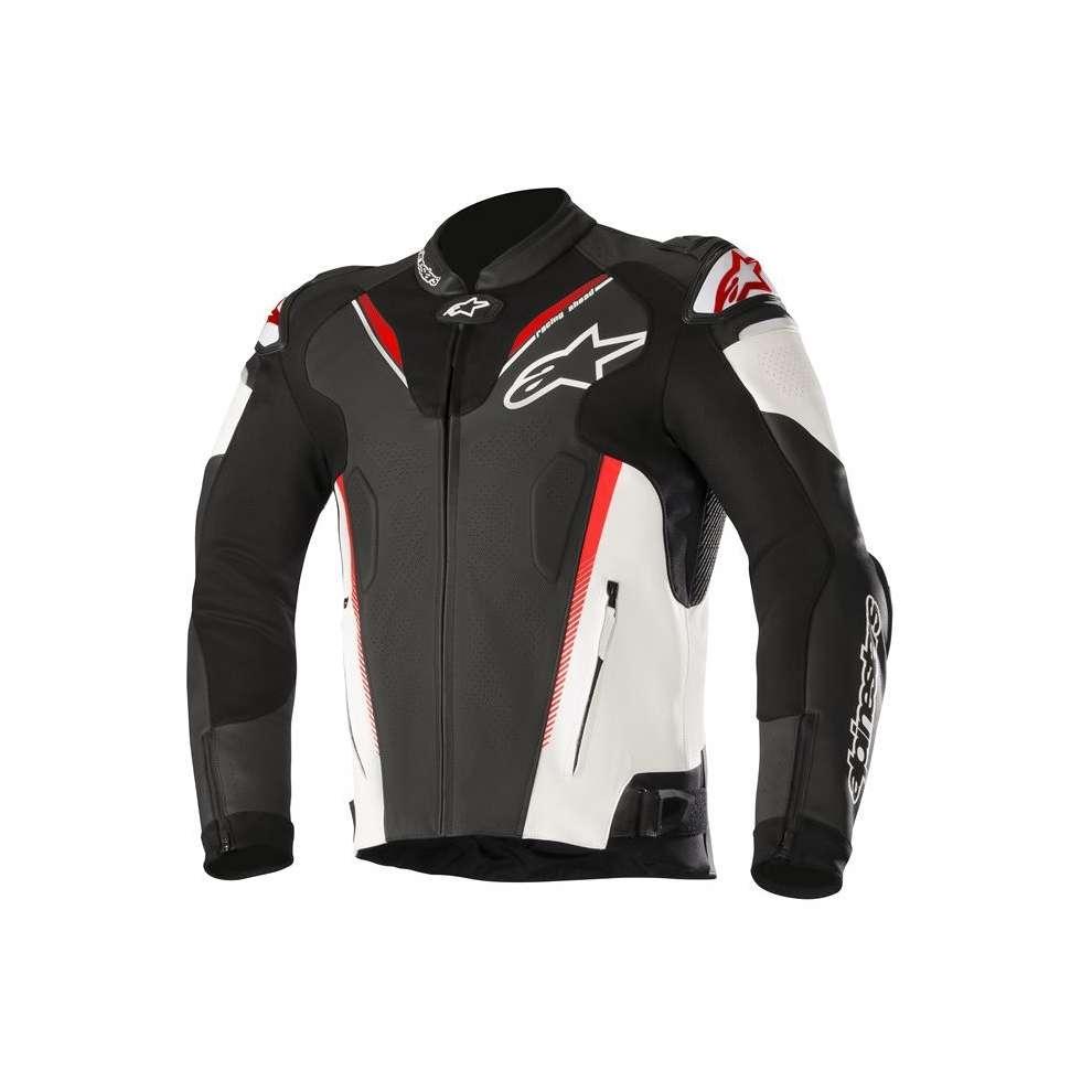 GIACCA MOTO IN PELLE ALPINESTARS ATEM V3 JACKET BLACK WHITE RED FLUO COD. 3106518