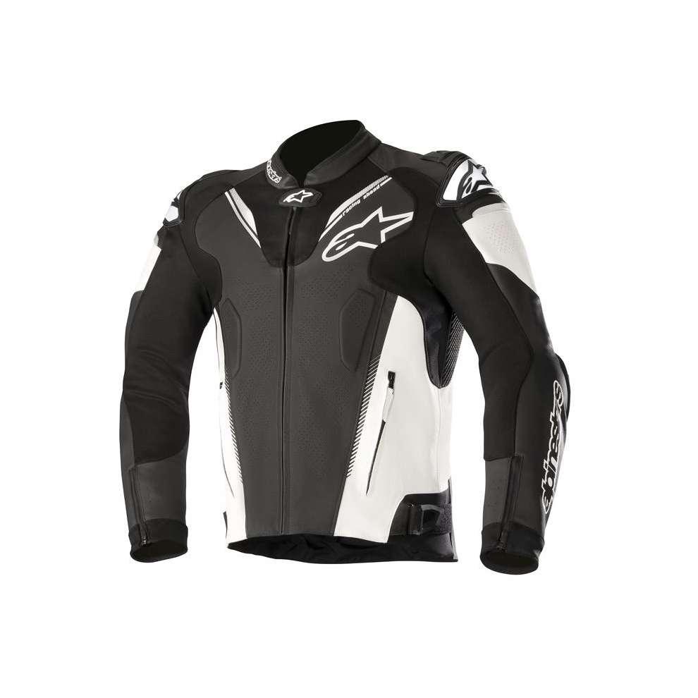 GIACCA MOTO IN PELLE ALPINESTARS ATEM V3 JACKET BLACK WHITE COD. 3106518