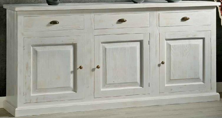 Credenza 3 porte in legno massello di abete, finitura laccato consumato