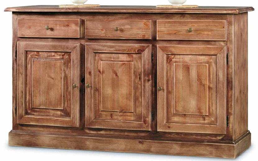 Credenza 3 porte in legno massello di pino, finitura laccato consumato